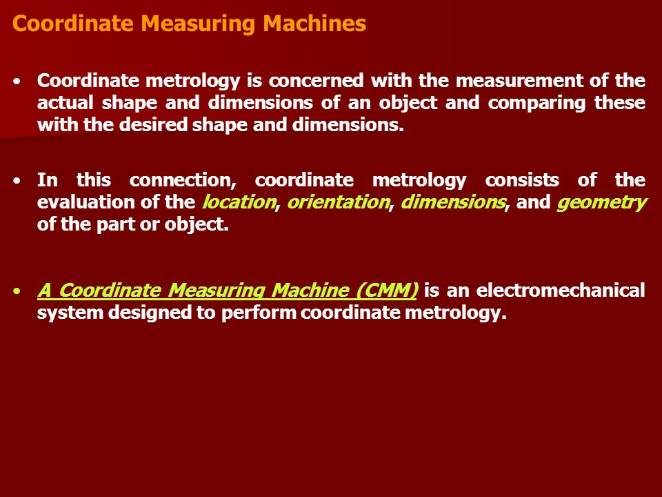 Coordinate Measuring Machine : Manufacturing engineering department lecture automated