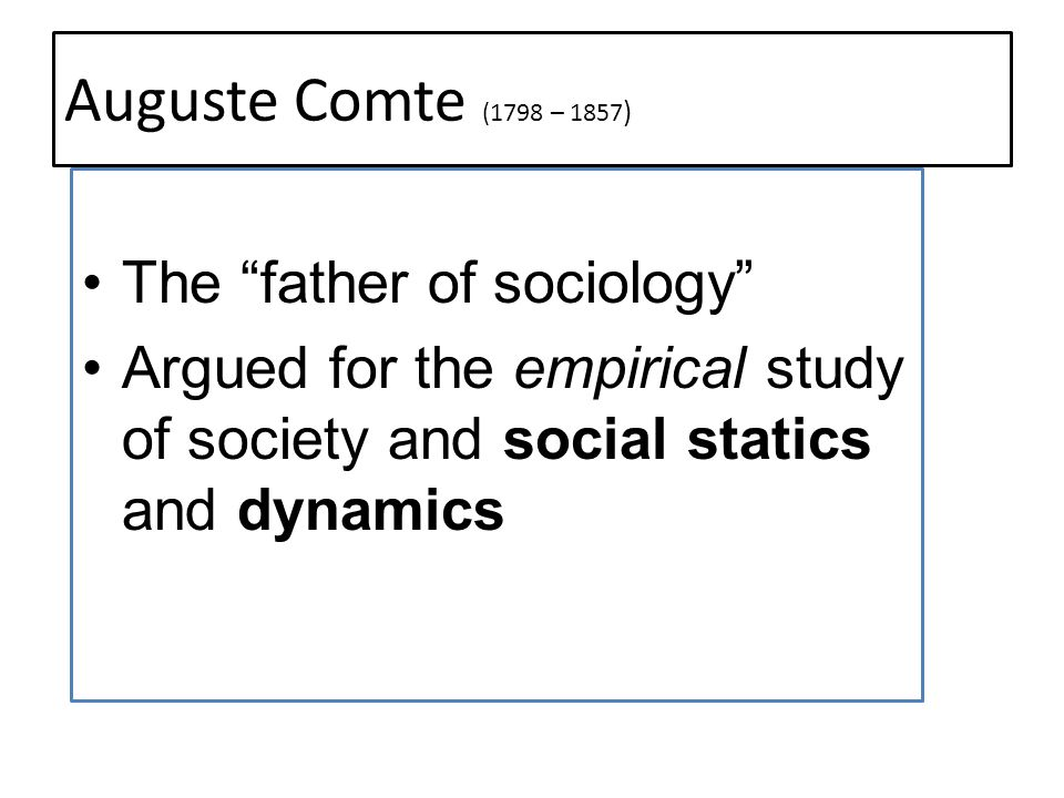 Auguste Comte (1798 – 1857) The father of sociology