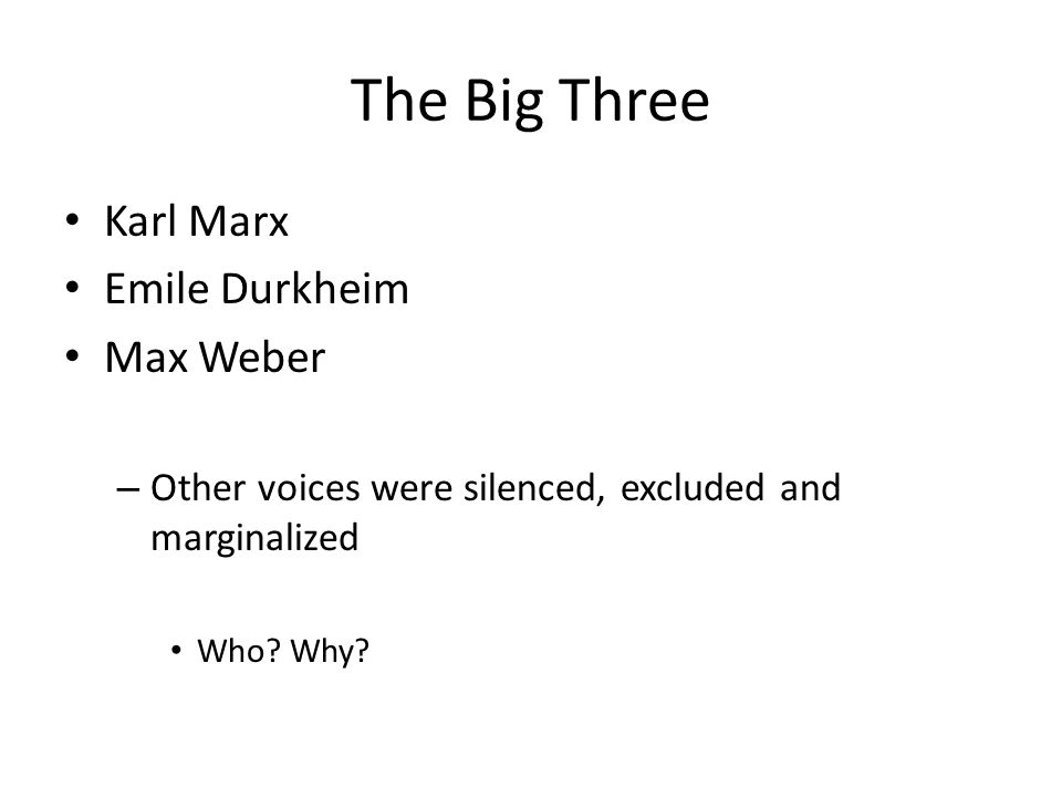The Big Three Karl Marx Emile Durkheim Max Weber