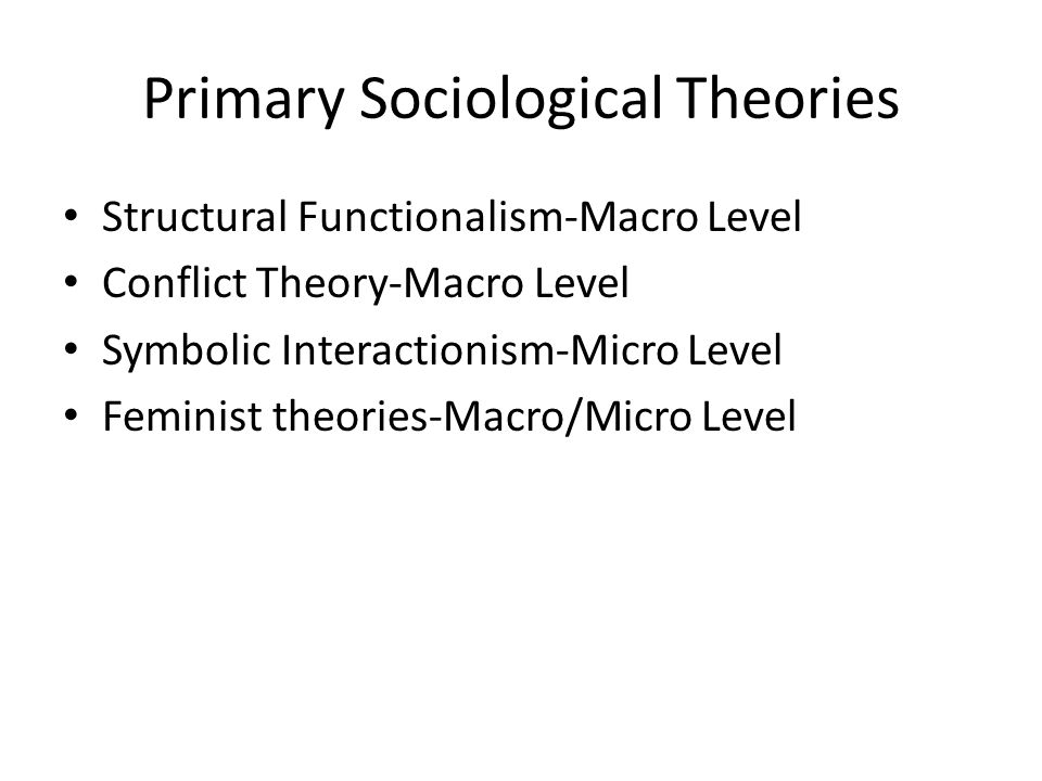 Primary Sociological Theories
