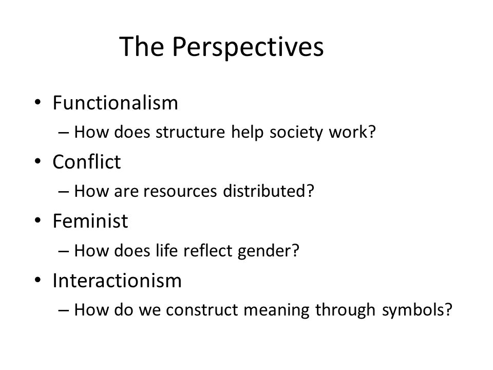 The Perspectives Functionalism Conflict Feminist Interactionism