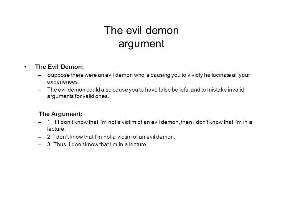 descartes evil demon argument