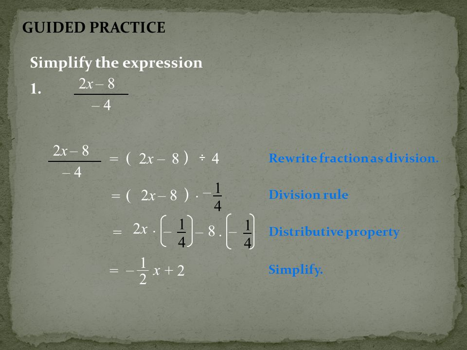 Simplify the expression 2x – 8 – 4 1.
