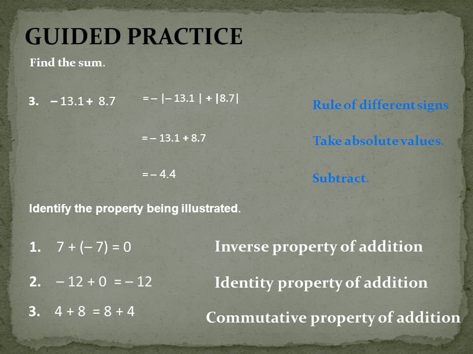 GUIDED PRACTICE (– 7) = 0 Inverse property of addition