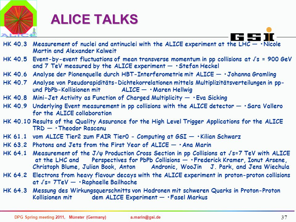 ALICE TALKS HK 40.3 Measurement of nuclei and antinuclei with the ALICE experiment at the LHC — •Nicole Martin and Alexander Kalweit.