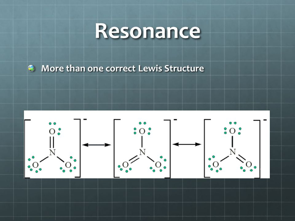 Resonance More than one correct Lewis Structure