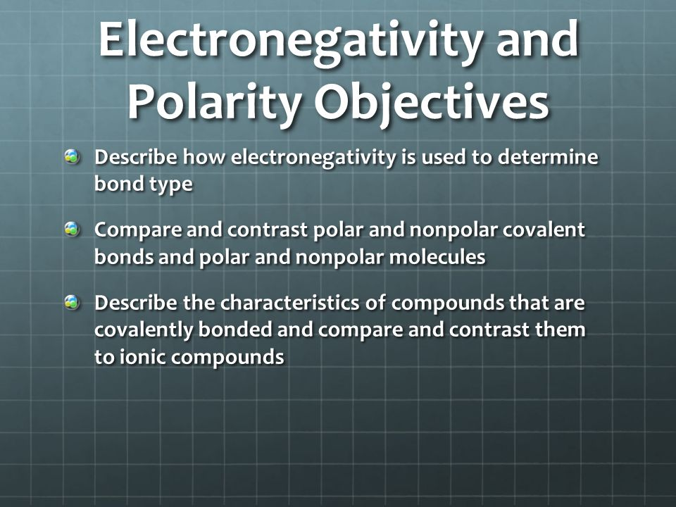 Electronegativity and Polarity Objectives
