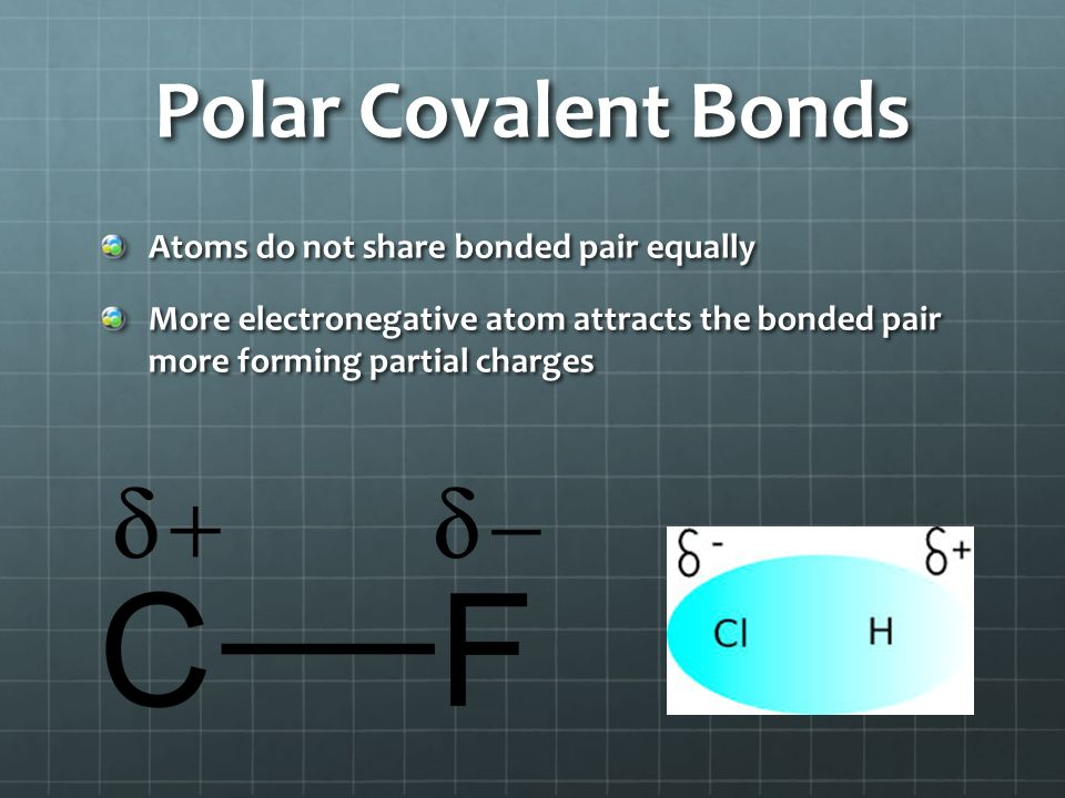 Polar Covalent Bonds Atoms do not share bonded pair equally
