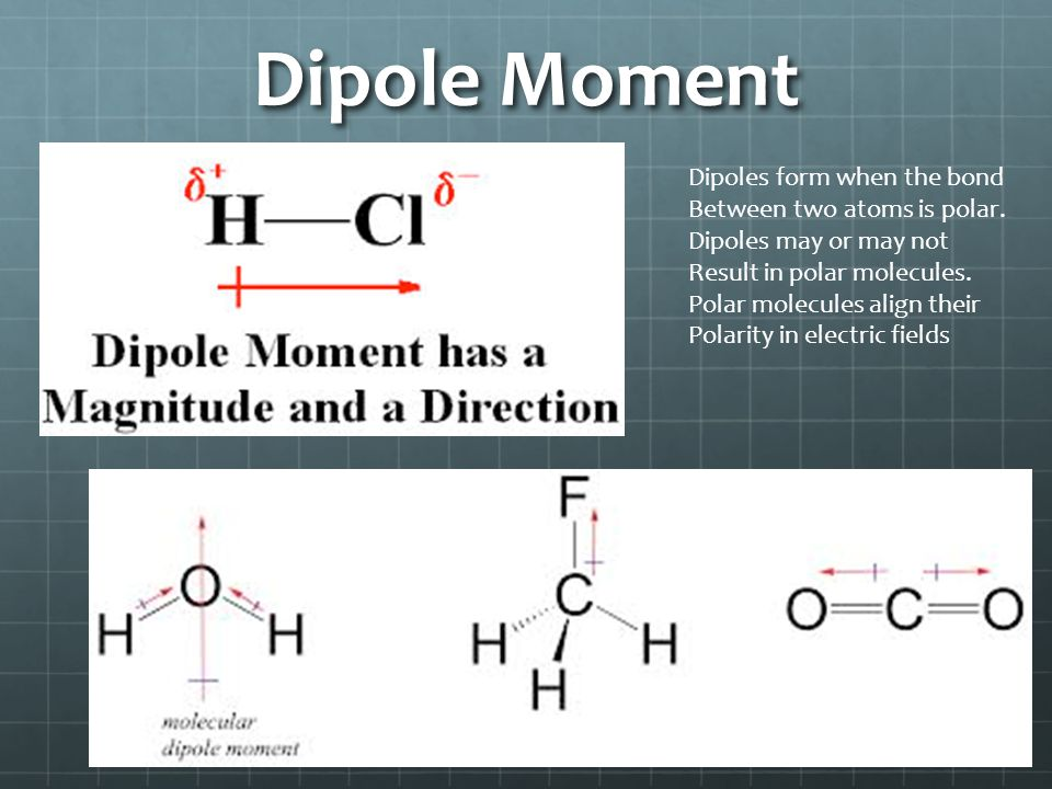 Dipole Moment Dipoles form when the bond Between two atoms is polar.