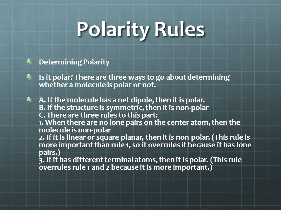 Polarity Rules Determining Polarity