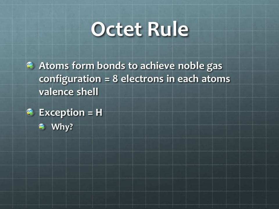 Octet Rule Atoms form bonds to achieve noble gas configuration = 8 electrons in each atoms valence shell.