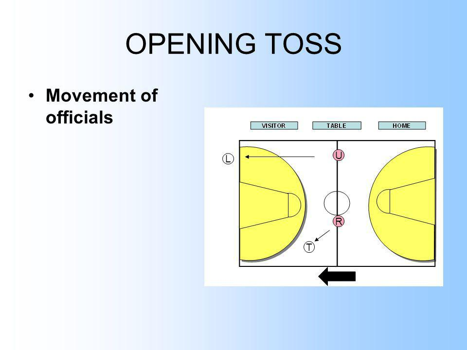 OPENING TOSS Movement of officials U L R T