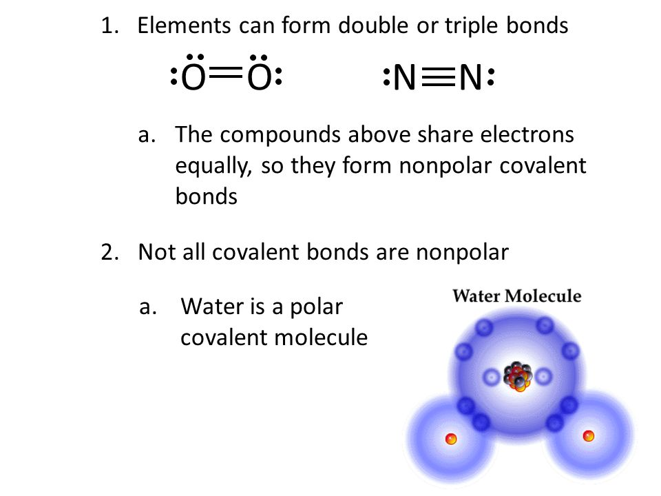 O O N N Elements can form double or triple bonds