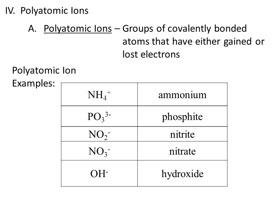 IV. Polyatomic Ions Polyatomic Ions – Groups of covalently bonded atoms that have either gained or lost electrons.