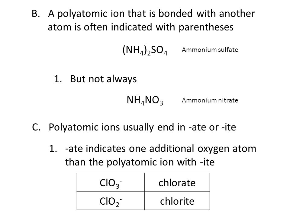 C. Polyatomic ions usually end in -ate or -ite