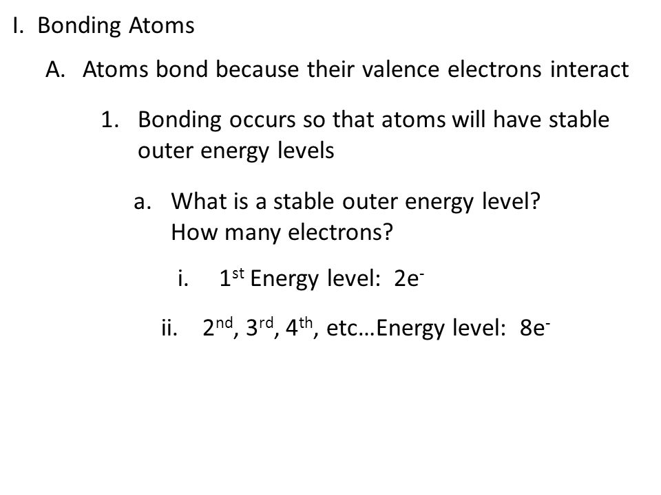 I. Bonding Atoms Atoms bond because their valence electrons interact. Bonding occurs so that atoms will have stable outer energy levels.