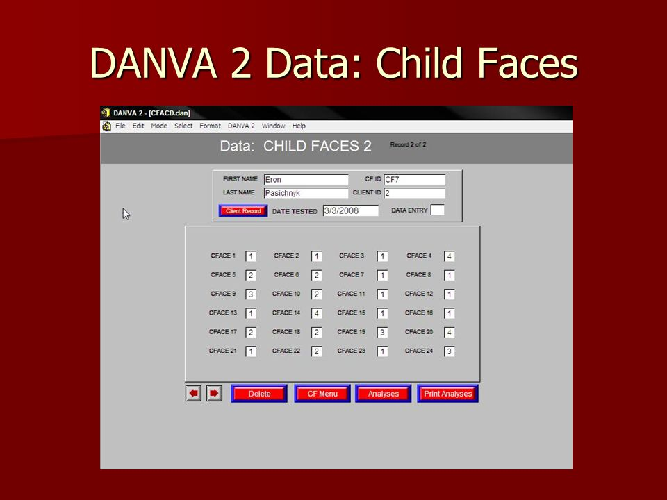 DANVA 2 Data: Child Faces