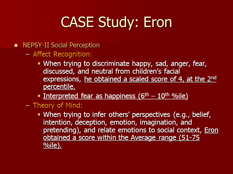 CASE Study: Eron Affect Recognition: