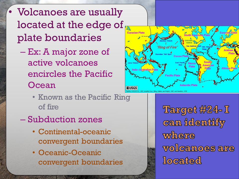 Target #24- I can identify where volcanoes are located