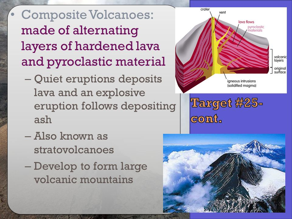 Composite Volcanoes: made of alternating layers of hardened lava and pyroclastic material