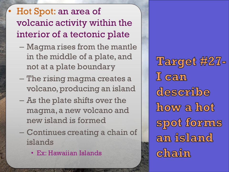 Target #27- I can describe how a hot spot forms an island chain