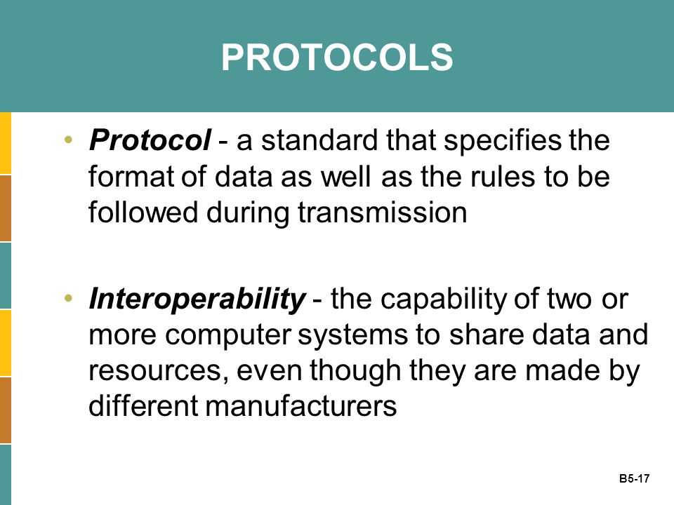 PROTOCOLS Protocol - a standard that specifies the format of data as well as the rules to be followed during transmission.