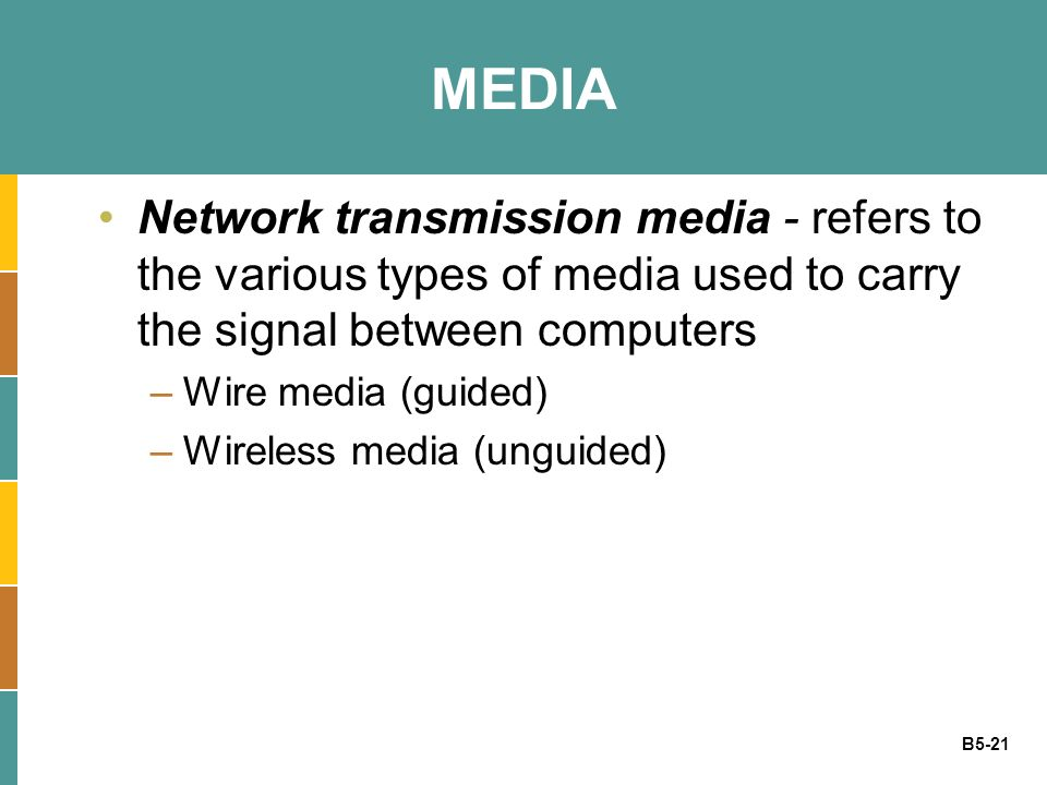 MEDIA Network transmission media - refers to the various types of media used to carry the signal between computers.