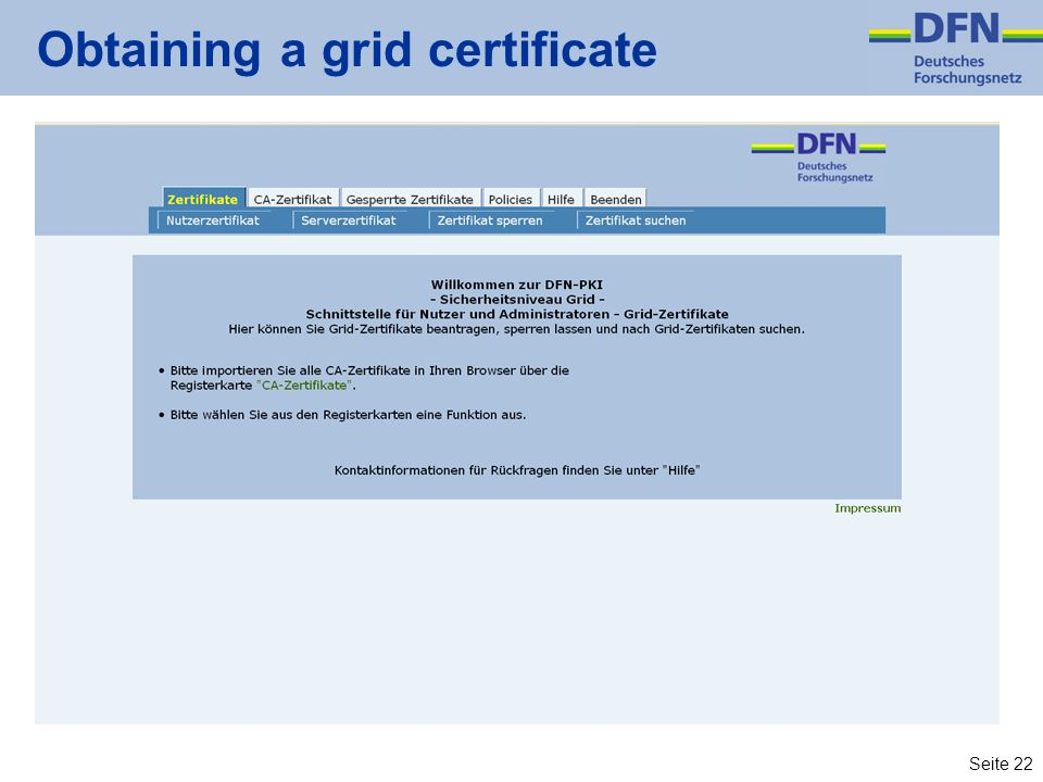 Obtaining a grid certificate