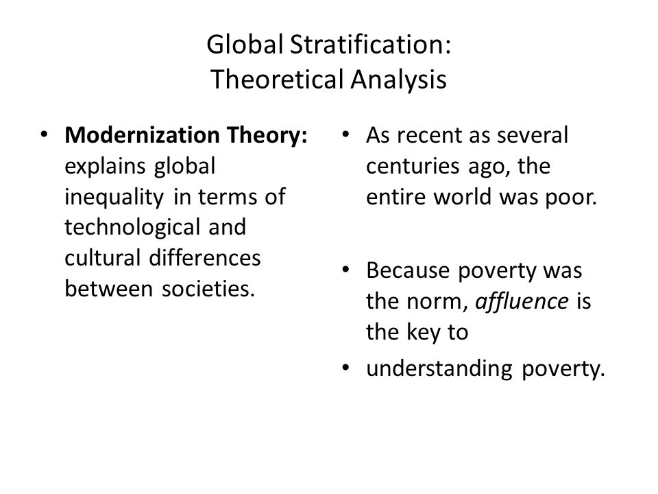 stratification theory