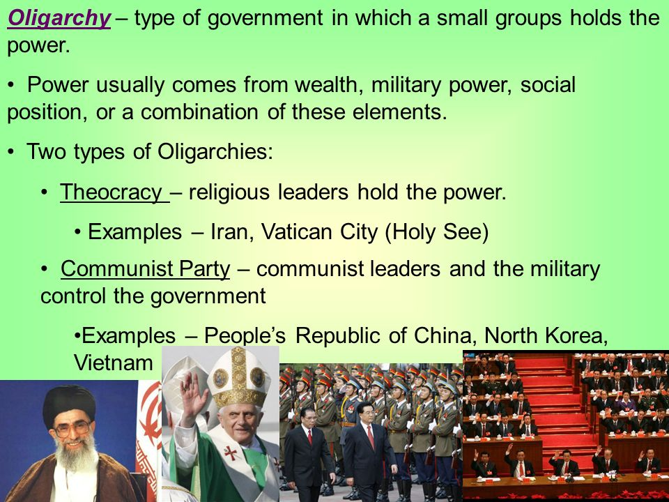 french government an oligarchy rather than a Forms of government and other political structures associated with oligarchy usually include aristocracy, meritocracy, plutocracy, military junta, technocracy, and theocracy aristocracy is a form of government in which a few elite citizens rule.