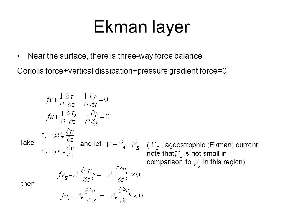 Ekman layer Near the surface, there is three-way force balance