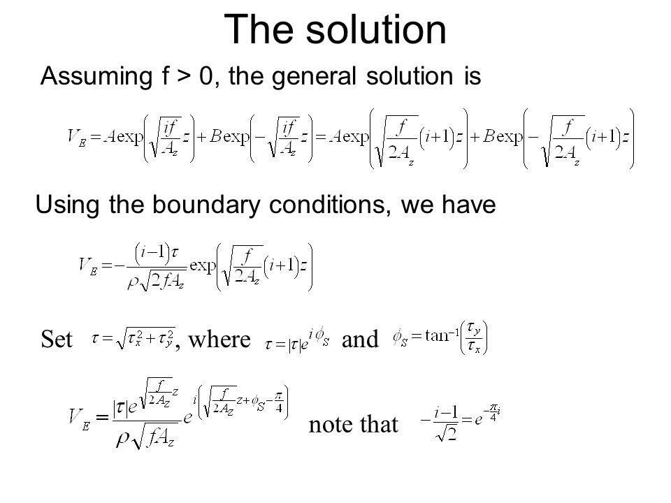 The solution Assuming f > 0, the general solution is