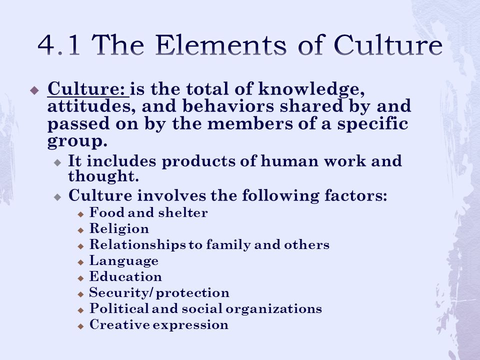 4.1 The Elements of Culture
