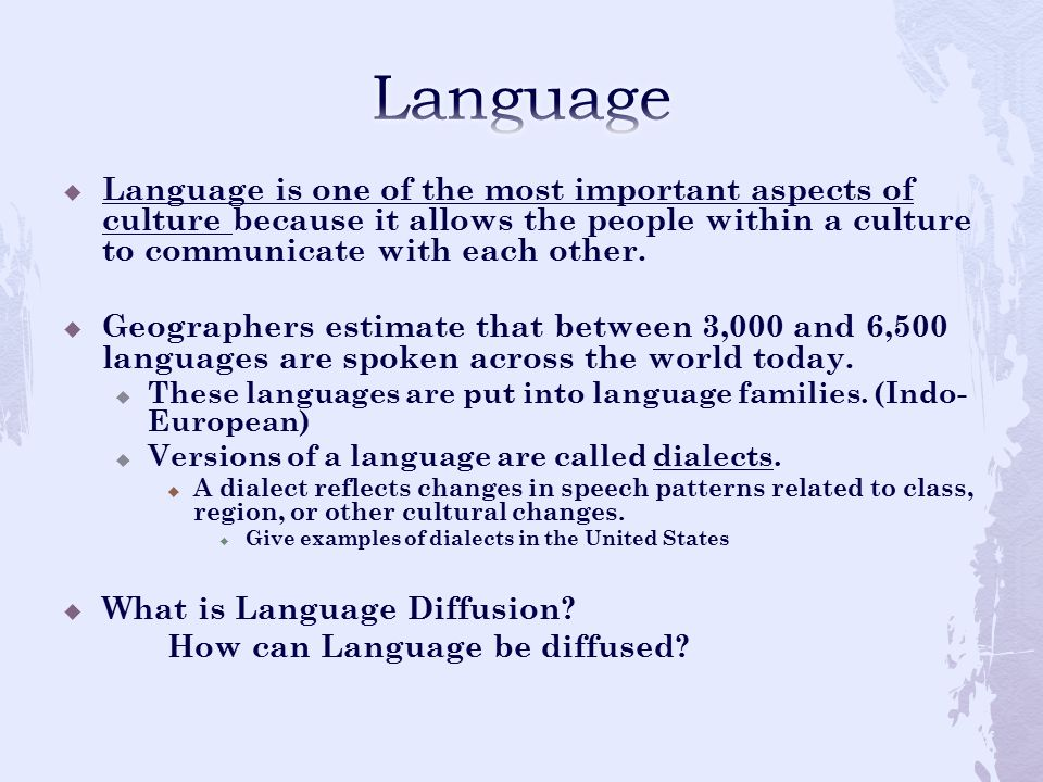 Language Language is one of the most important aspects of culture because it allows the people within a culture to communicate with each other.