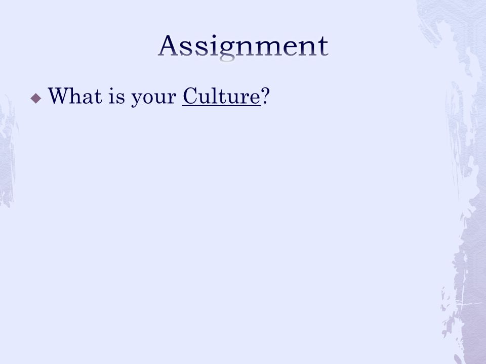 Assignment What is your Culture