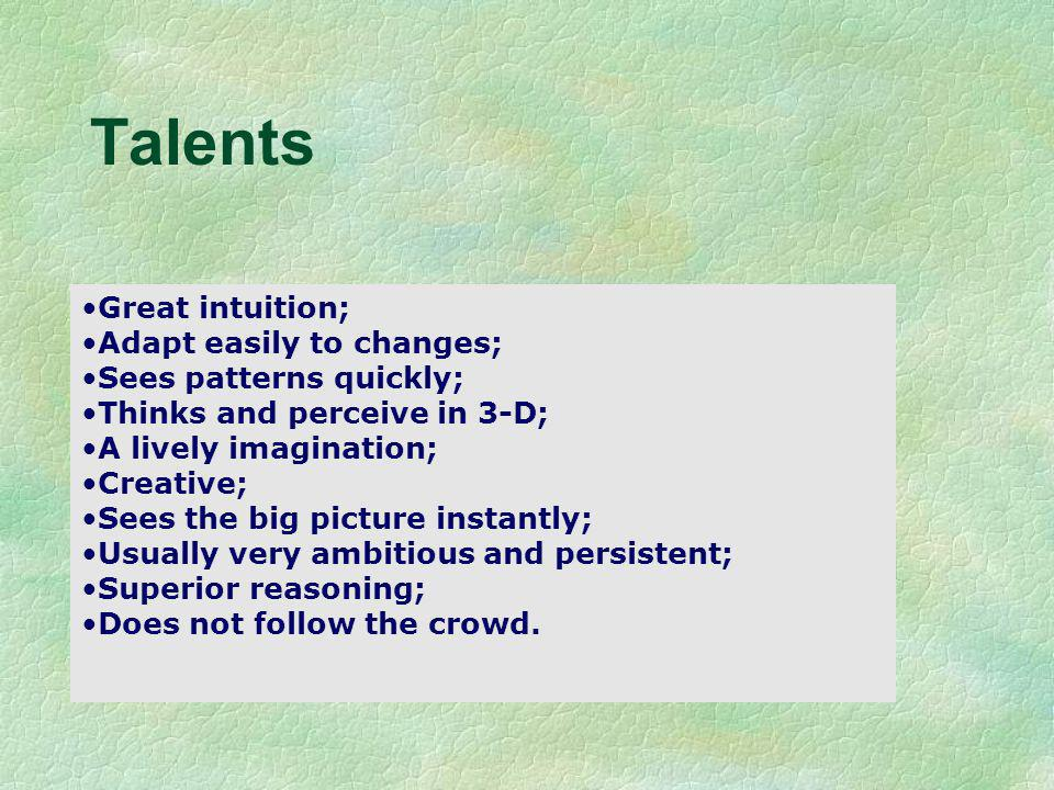 Talents Albert Einstein Great intuition; Adapt easily to changes;