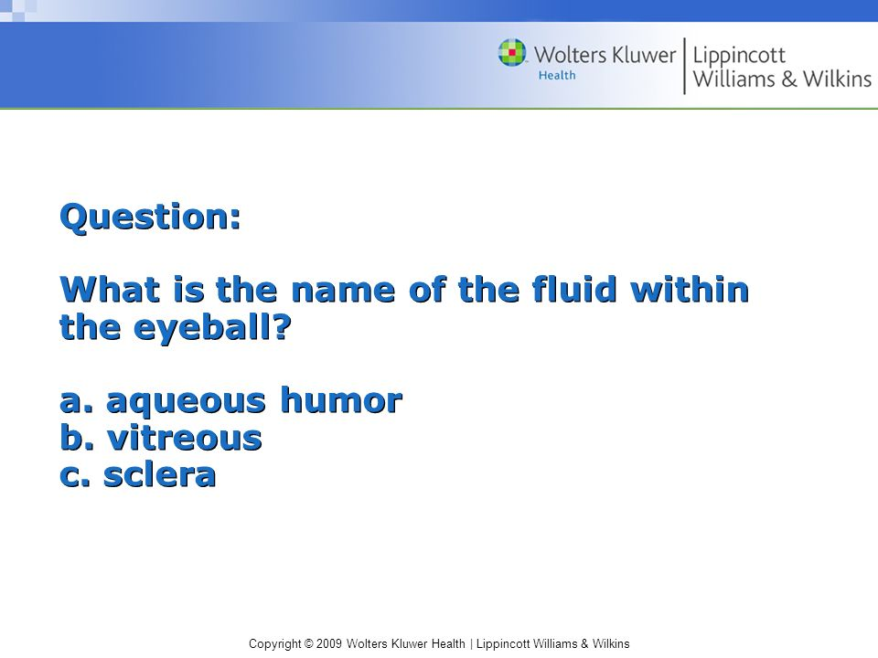 Question: What is the name of the fluid within the eyeball. a