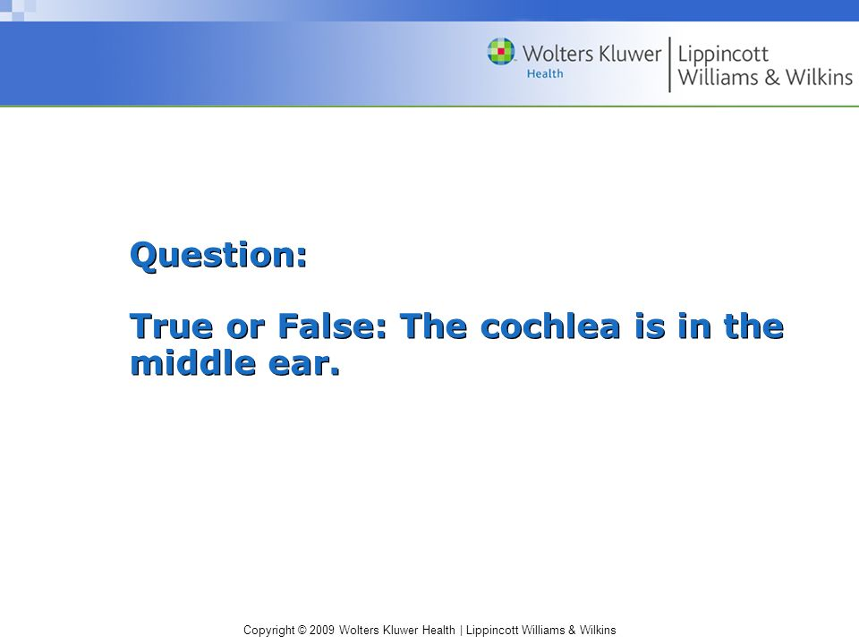 Question: True or False: The cochlea is in the middle ear.