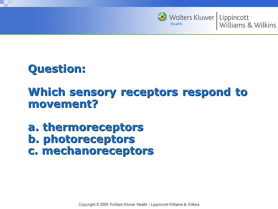 Question: Which sensory receptors respond to movement. a