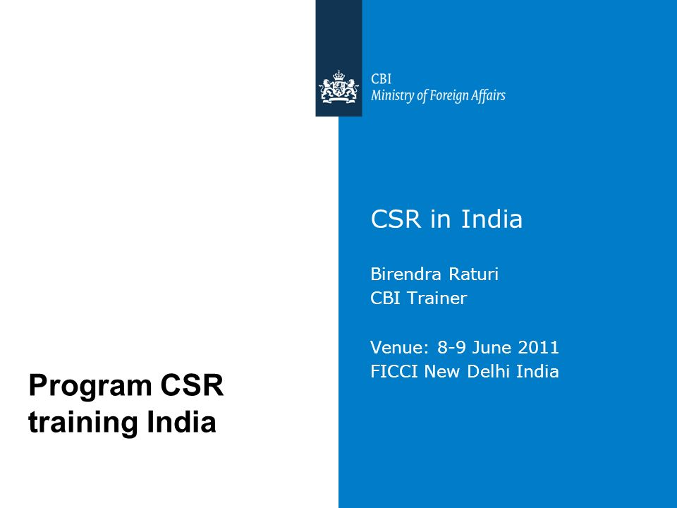 Program CSR training India