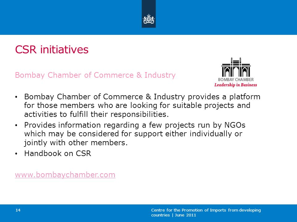 CSR initiatives Bombay Chamber of Commerce & Industry