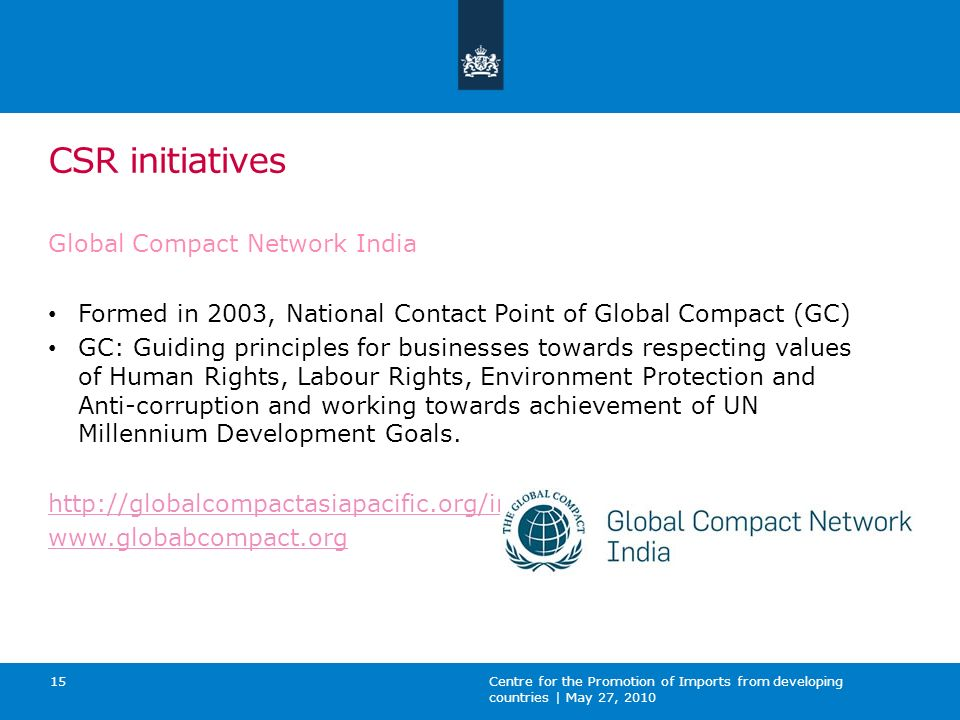 CSR initiatives Global Compact Network India