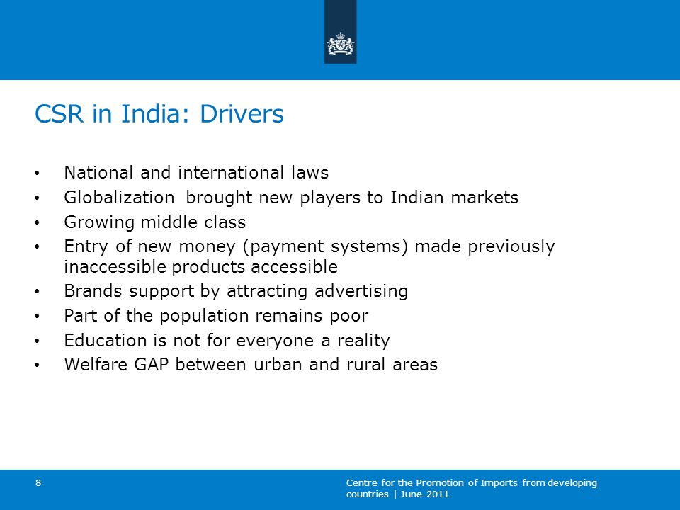 CSR in India: Drivers National and international laws