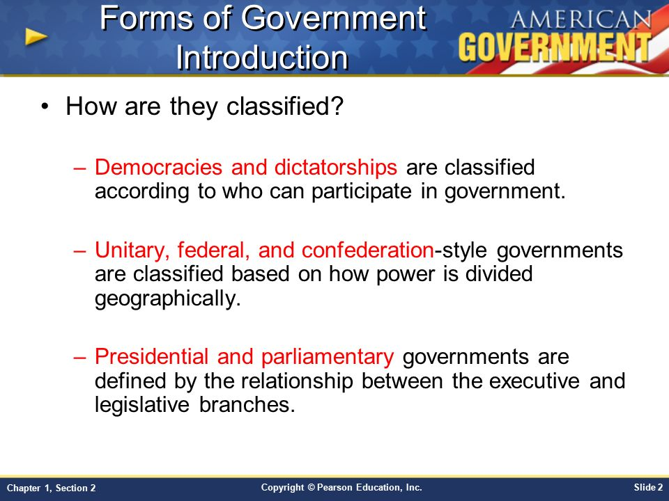 Chapter 1: Principles of Government Section 2 - ppt video ...