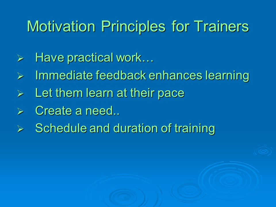 Motivation Principles for Trainers