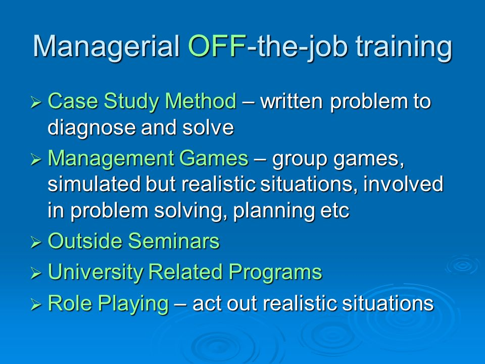 Managerial OFF-the-job training