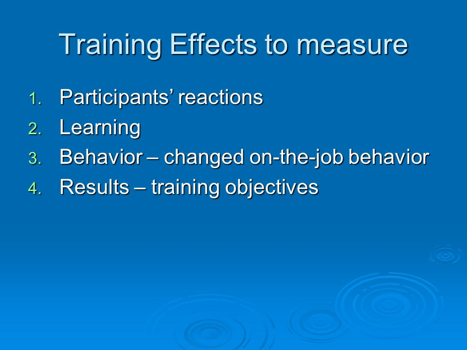 Training Effects to measure