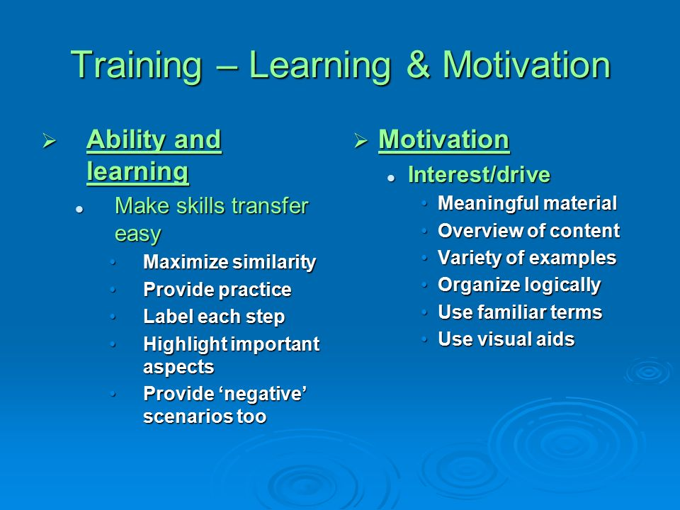 Training – Learning & Motivation