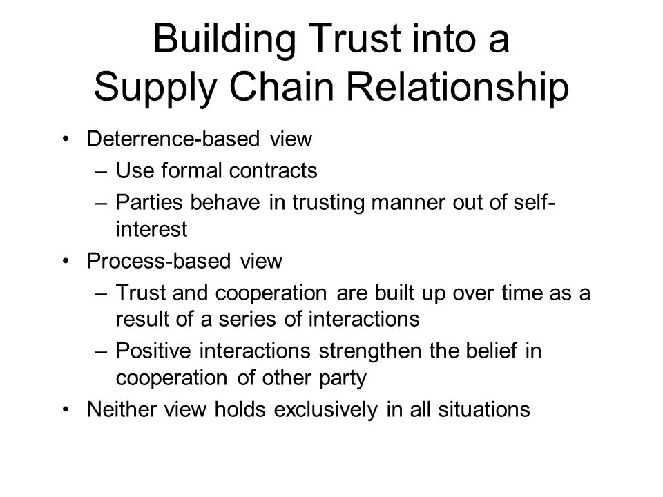 Building Trust into a Supply Chain Relationship