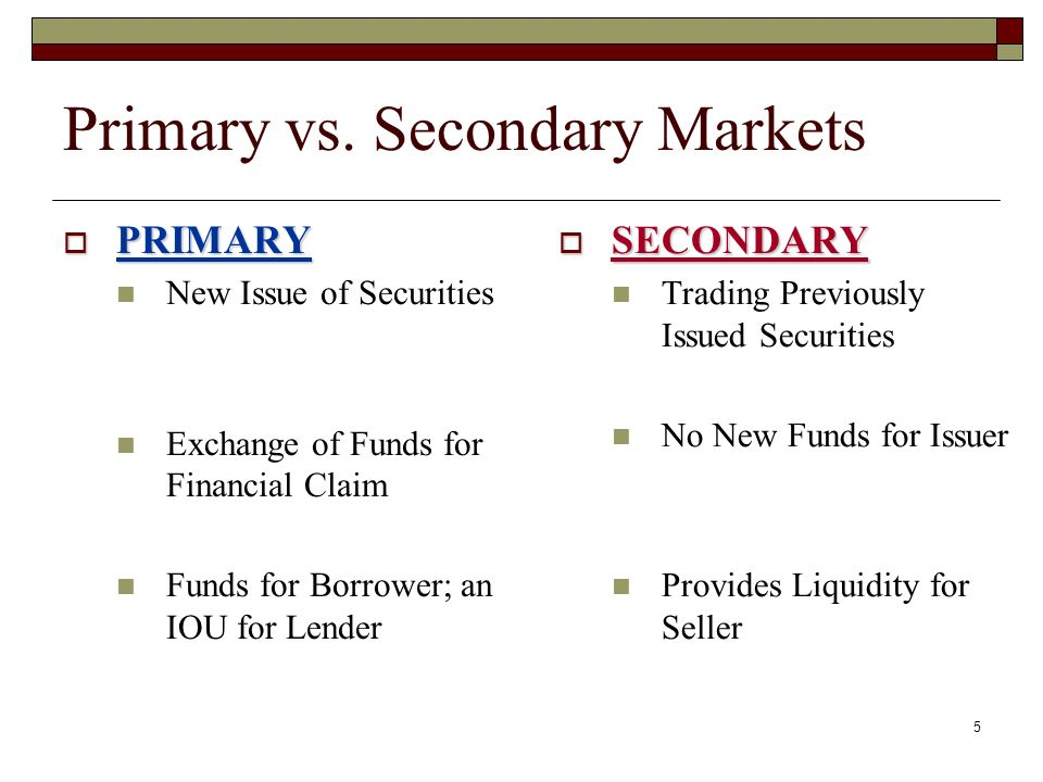 primary market and secondary market